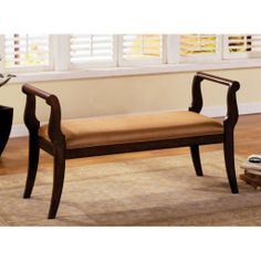FurnitureMaxx Solid Wood Settee Cushion Bench with Arm : Benches