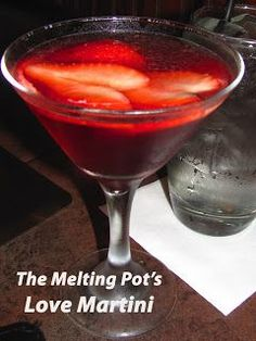 The Melting Pot's Love Martini ounce coconut flavored Rum (I recommend Malibu Rum) 1 ounce Peach Schnapps 2 ounces Cranberry Juice 1 strawberry, for garnish The Melting Pot, Melting Pot Recipes, Summer Drinks, Cocktail Drinks, Fun Drinks, Cocktail Recipes, Alcoholic Drinks, Mixed Drinks, Bartender Drinks