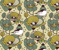Art Deco Songbird fabric by melisza on Spoonflower - custom fabric
