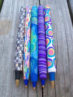 Polymer Clay Covered Ink Pens Bic Pens by FlowertownOriginals, $5.00