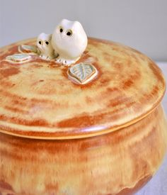 mama and baby owl keepsake box- Mother's Day gift from Lee Wolfe Pottery