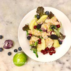 Salmone cipolla rossa, patate e frutti di bosco alessandra ruggeri Risotto, Potato Salad, Ethnic Recipes, Food, Essen, Meals, Yemek, Eten