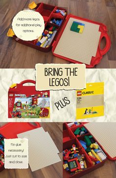 Traveling with kids? Bring the legos! Just add a Lego Baseplate to a Lego Juniors Suitcase. The suitcase folds flat, so it can be placed on an airplane tray, or be held on the child's lap in the car. The lip will ensure no legos slip away, and all you need to do is cut the baseplate to size and place it in. The suitcase will still close perfectly, and you don't need to glue it down for it to stay in place. Its small size makes it the perfect travel companion for little builders. It can be…