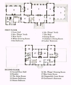 Old Westbury Mansion Floor Plan English Architecture, Historical Architecture, Classical Architecture, Old Westbury Gardens, Architectural Floor Plans, Hall Flooring, Vintage House Plans, Old Mansions, Site Plans