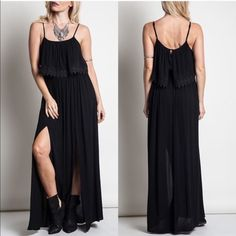 💠💠The DELAWARE side slit maxi - BLACK 🎉️HP 5/4🎉Double Slit Maxi Dress With Lace Detail. ️ONLY BLACK aVAILABLE.  ‼️️NO TRADE, PRICE FIRM‼️ striped Bellanblue Dresses