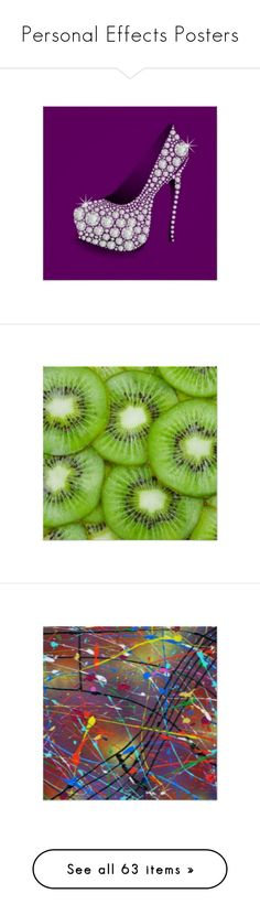 """Personal Effects Posters"" by personaleffects ❤ liked on Polyvore featuring diamond, jewels, home, home decor, wall art, food, fruit, green, kiwi and fruit home decor"