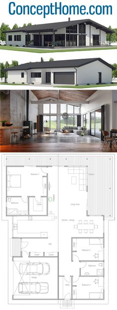 Architecture, House Designs, Home Plans, Dream House Plans, Modern House Plans, Small House Plans, House Floor Plans, Minimal House Design, Minimal Home, Design Home Plans, Three Bedroom House Plan, Metal Building Homes