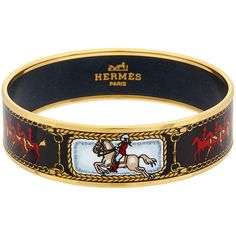 Hermes Black Enamel Carriage Wide Bangle (1,875 SAR) ❤ liked on Polyvore featuring jewelry, bracelets, jewelry & watches, nocolor, hermes jewelry, hinged bracelet, enamel bangle bracelet, wide bangle and hermès