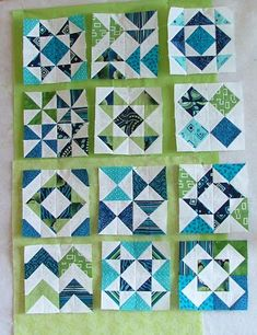 Quilt Crossing: A dozen different HST's – Rug making Tree Quilt Pattern, Patchwork Quilt Patterns, Pattern Blocks, Quilt Square Patterns, Crazy Patchwork, Patchwork Designs, Half Square Triangle Quilts Pattern, Square Quilt, Half Square Triangles