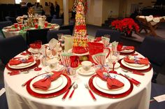 Tonight we have our annual ladies banquet. Different women decorate tables, so they are all different. This year my theme centers around a c. Christmas Banquet Decorations, Banquet Table Decorations, Banquet Centerpieces, Christmas Table Cloth, Christmas Table Settings, Christmas Tablescapes, Christmas Centerpieces, Holiday Tables, Banquet Ideas