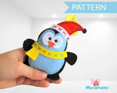 Christmas Penguin Pattern - Felt Penguin Christmas Ornament Pattern, Pdf sewing pattern A480