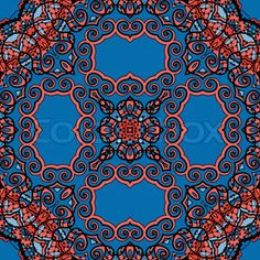 Seamless indian wallpaper. Tribal Ornamental Pattern. Vintage decorative element backdrop. Hand drawn background. Islam, Arabic, Indian, Asian, Ottoman motif in blue and red color.