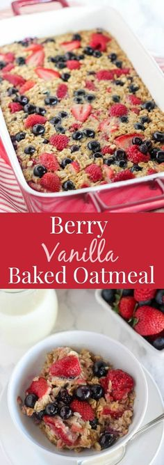 This easy Baked Oatmeal Recipe is filled with oats, maple syrup, fresh berries and fragrant vanilla. A healthy make-ahead breakfast for busy mornings. #oats #oatmeal #bakedoatmeal #breakfast