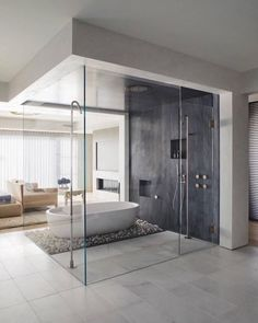 Bathroom ideas, bathroom remodel, master bathroom decor and master bathroom organization! Master Bathrooms may be beautiful too! From claw-foot tubs to shiny fixtures, these are the bathroom that inspire me the absolute most. Modern Master Bathroom, Grey Bathrooms, Modern Bathroom Design, Bathroom Interior Design, Luxury Bathrooms, Master Bathrooms, Minimal Bathroom, Bathroom Mirrors, Bathroom Cabinets