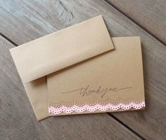 Pink Lace Thank You Card-Spring Wedding Thank You Card-Bridal Shower Thank You Card-by Lemon Drops & Lilacs on etsy.com
