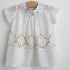 Vintage delicate infant / baby smock dress with embroidery, 1930.
