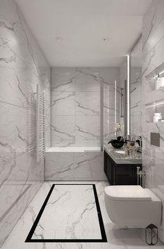 Emily Henderson bathroom trends 2019 modern bathroom with modern m… – Marble Bathroom Dreams Bathroom Design Luxury, Bathroom Layout, Modern Bathroom Design, Bad Inspiration, Bathroom Inspiration, Bathroom Tub Shower, Bathroom Small, Master Bathroom, Bathroom Ideas White