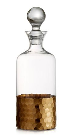 Dress up your holiday bar cart with this gorgeous gold decanter. | Fitz and Floyd decanter