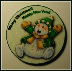 """""""Happy Snowman"""". Christmas Magnet. Home Décor magnet from my «Magnetic Force» collection. Made to order."""