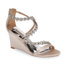 Women's Badgley Mischka Bennet Embellished Wedge Sandal ($165) via Polyvore featuring shoes, sandals, light pink satin, badgley mischka sandals, heeled sandals, strappy shoes, wedge heel shoes and strappy heeled sandals