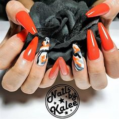 Nail art from the NAILS Magazine Nail Art Gallery, gel, orange, orange and black,… - #accentnails #accent #nails
