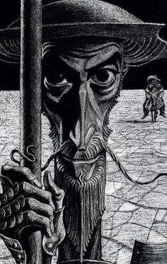 Don Quixote Illustrated by Russian Illustrator Savva Brodsky – Man Of La Mancha, Dom Quixote, Michael Moorcock, Chivalry, Book Cover Design, Portrait, Graphic Art, Book Art, Knight