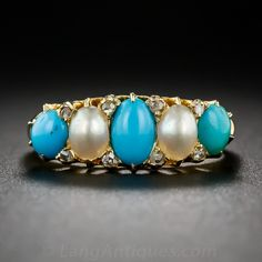 Turquoise and Natural Pearl Ring Something to wear with your jeans in fall.