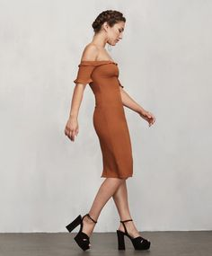Pin for Later: 16 Off-the-Shoulder Pieces Worth Grabbing Before Summer's End A Tight-Fitting Dress You Can Wear to Dinner and Drinks Reformation Petites Antonia Dress ($153, originally $218)