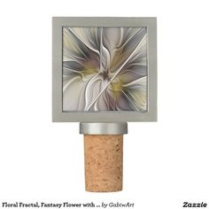 Floral Fractal, Fantasy Flower with Earth Colors Wine Stopper