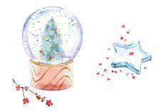 Watercolor Christmas clipart set - Illustrations - 3