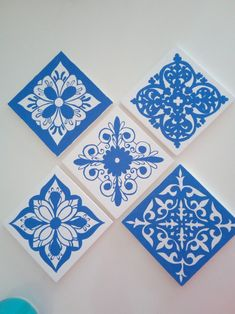 Mix with plain colored panels for backsplash Clay Tiles, Pattern Illustration, Ceramic Painting, Islamic Art, Handmade Art, Wall Prints, Wood Art, Backsplash, Art Drawings