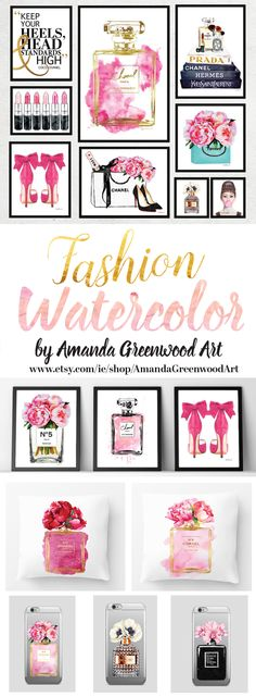 Watercolor fashion illustration by amanda Greenwood art on Etsy. With a love of flowers, Chanel, Perfumes and make up. Perfect wall art for the bedroom, bathroom & guest room. www.etsy.com/ie/shop/AmandaGreenwoodArt