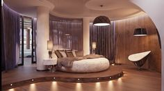 Bedroom Decorating Space Room Ideas Modern Design Interior Decorations Home Contemporary House Decoration Apartment Glamorous White And Brown Bedroom With Round Bed And Large Windows Spectacular Contemporary Bed room Design Ideas