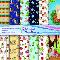 20 % OFF SALE Christmas Digital Papers, Llamas in Christmas  Digital Images, Christmas Tree, Elves, Santa Claus, Personal & Commercial Use Christmas Paper, Christmas Elf, Christmas Presents, Christmas Wreaths, Christmas Stuff, Holiday Gifts, Cute Llama, Alcohol Ink Painting, Digital Papers