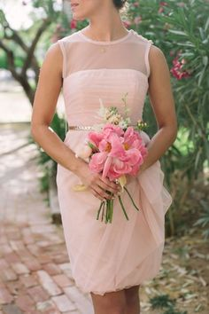 Pink and gold wedding // bridesmaid dress with illusion neckline