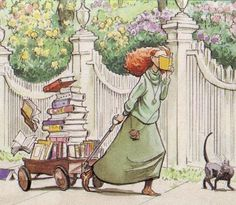 """Illustrator = David Small. It is the cover illustration to the picture book """"The Library"""" that his wife, Sarah Stewart, wrote."""