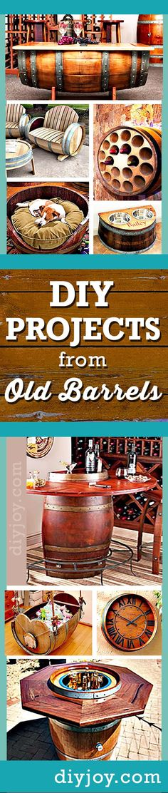 Cool DIY Projects and Do It Yourself Furniture made from old barrels by diy joy crafts http://diyjoy.com/wine-barrel-diy-projects