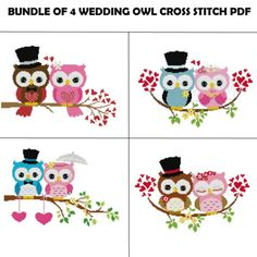 Wedding Cross Stitch Pattern Owl Cross Stitch by StitchValley Cross Stitch Owl, Cross Stitch Animals, Cross Stitching, Cross Stitch Embroidery, Embroidery Patterns, Cross Stich Patterns Free, Wedding Cross Stitch Patterns, Cross Stitch Designs, Owl Wedding