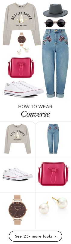 """""""Take me away"""" by meljay28 on Polyvore featuring Miss Selfridge, Converse, 3.1 Phillip Lim, Majorica, Olivia Burton, casual, converse, momjeans and slogantshirts"""