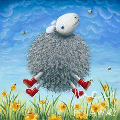 Lucy Pittaway artist - The Joy of Spring, Artmarket Contemporary Art Gallery Lucy Pittaway, Eid Crafts, Sheep Art, Family Organizer, Artwork Prints, Rock Art, Contemporary Artists, Colorful Interiors, Fine Art Paper