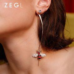Earrings Honeybee Rhinestone Thread Line Long Drop Dangle Christmas Gi – Annie Jewelry