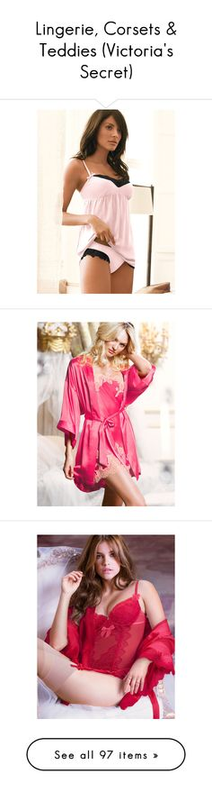 """""""Lingerie, Corsets & Teddies (Victoria's Secret)"""" by freitascambraia ❤ liked on Polyvore featuring intimates, pajamas, ballet pink, chiffon lingerie, victoria secret lingerie, pink babydoll lingerie, lace babydoll lingerie, bow lingerie, robes and neon hot pink"""