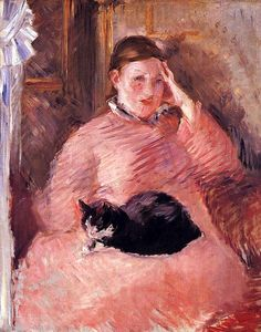Edouard Manet (1832-1883) Madame Manet with Cat 1882-3. Picture from his impressionistic period. A portrait of the artist's wife (née Suzanne Leenhoff), and sometimes known as 'Portrait of Mme Manet'. According to her son Léon Koëlla, it was painted in the Manets' apartment in the Rue de Saint-Pétersbourg.