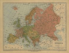Map of Europe, 1878 #map #Europe #antique #vintage