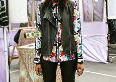 Thando (Factory PR) in Alexander Wang leather vest, Bar III #floral shirt, #Topshop leather pants