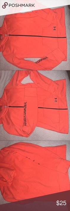 ORANGE UNDER ARMOUR HOODIE PERFECT CONDITION. This was worn 2x. It is a size small Under Armour hoodie. Under Armour Tops Sweatshirts & Hoodies