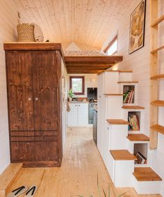A large wardrobe and a storage staircase with Japanese style steps provide plenty of storage space.