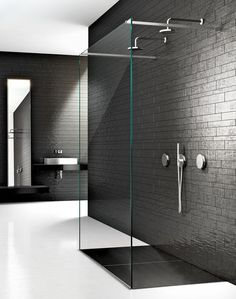 Minimal black and white bathroom, Space glass enclosure by Makro _