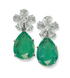 A Pair of Emerald and Diamond Earrings, By Van Cleef & Arpels