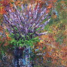 Wild Lupines, 2017 Lianna Klassen Mixed Media Unique Work Size : 20 x 20 x in. Portraits, Sculpture, Decoration, Artwork, Mixed Media, Painting, Plants, Aesthetics, Color